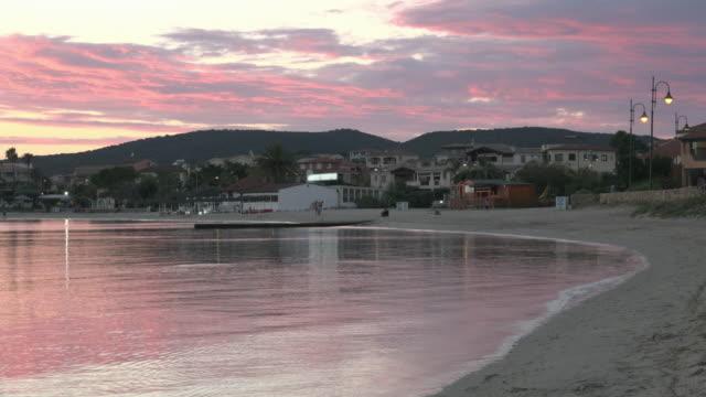 after sunset at beach of golfo aranci - sassari stock videos & royalty-free footage