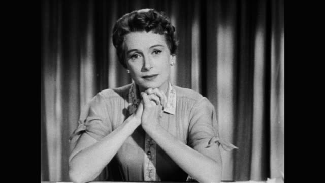/ after the death of humphrey bogard, actress deborah kerr makes plea supporting the american cancer society. deborah kerr makes plea for the... - 1957 stock-videos und b-roll-filmmaterial