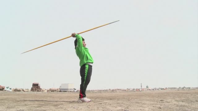vídeos y material grabado en eventos de stock de after winning the silver medal in javelin at londons paralympic games ahmed naas was disappointed to return to a life of struggle in his hometown in... - nasiriyah
