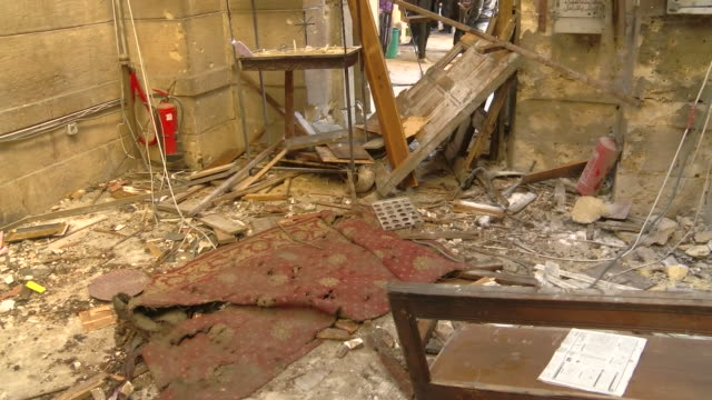 Aftermath of a bombing attack on a Christian church in Cairo Egypt