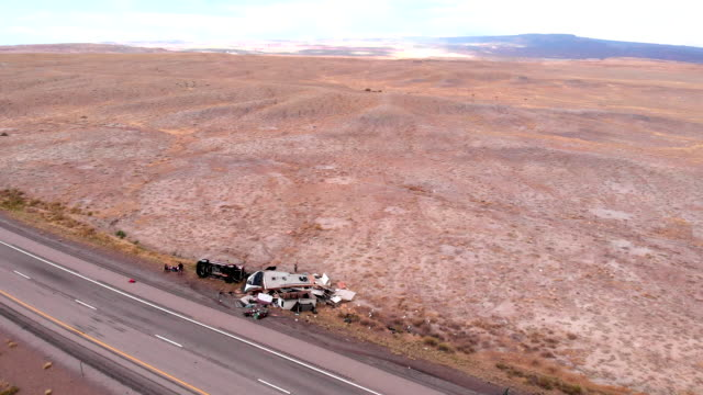 aftermath of a horrible truck and camp trailer rollover accident in the eastern utah desert in the summertime near moab utah - trailer stock videos & royalty-free footage