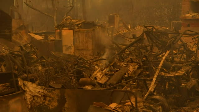 Aftermath of California wildfires in Paradise USA