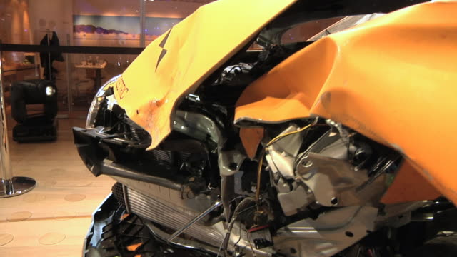 cu ds aftermath of crash test of volvo electric passenger car at detroit auto show / detroit, michigan, usa - crash test stock videos & royalty-free footage