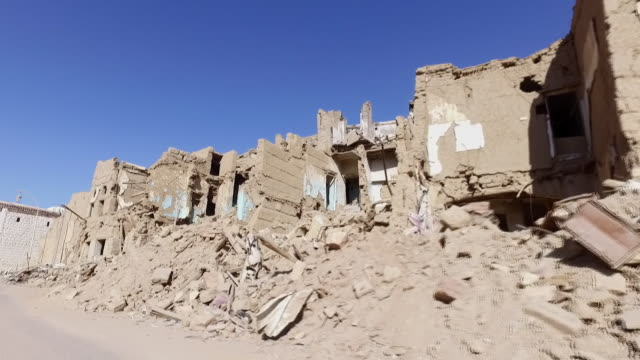 Aftermath of destruction caused by Saudi Arabian airstrikes on the city of Sa'dah Yemen