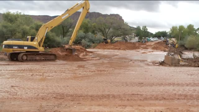 kstu aftermath of flash flood in zion national park in utah on september 15 2015 - zion national park stock videos & royalty-free footage