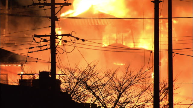aftermath of the earthquake and tsunami. devastated areas. fire caused by tsunami. close shot. the 9.0 magnitude quake struck the north-east of japan... - tsunami stock videos & royalty-free footage