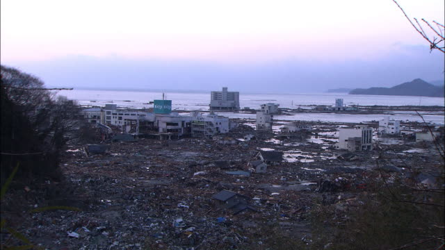 aftermath of the earthquake and tsunami devastated areas rikuzentakata iwate pref struck by tsunami tourist hotels along the shore supermarket the 90... - raw footage stock videos & royalty-free footage