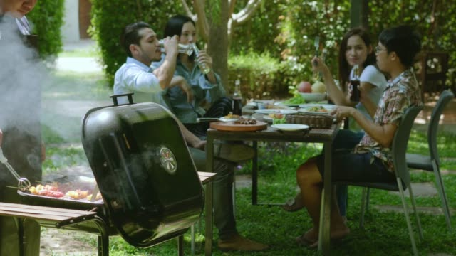 afternoon party, barbecue and roast pork - picnic stock videos and b-roll footage