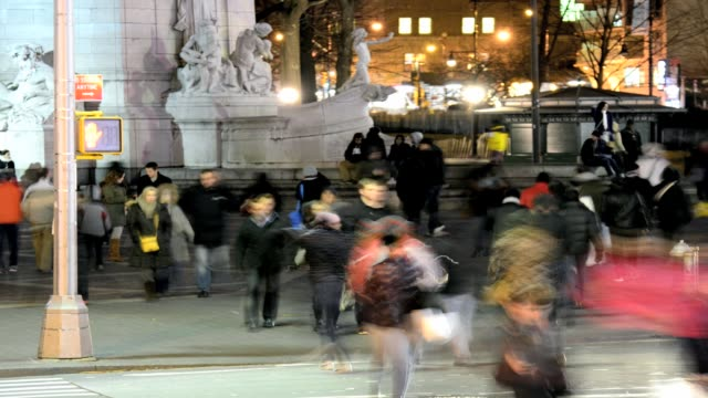 lapse afternoon rush hour pedestrian traffic people crossing street 59th street columbus circle upper west side manhattan new york city usa time... - columbus circle stock videos & royalty-free footage