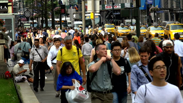 afternoon rush hour, people traffic, 5th ave, manhattan, new york city - gehweg stock-videos und b-roll-filmmaterial