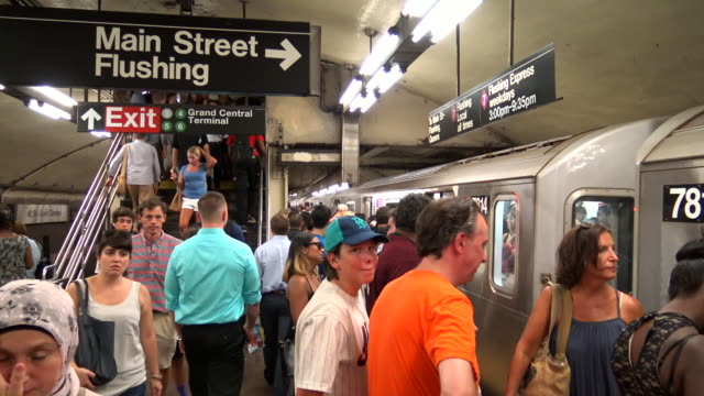 afternoon rush hour via grand central station / subway number 7 train / services operate between main street in flushing queens and 34th street –... - 34th street stock videos and b-roll footage