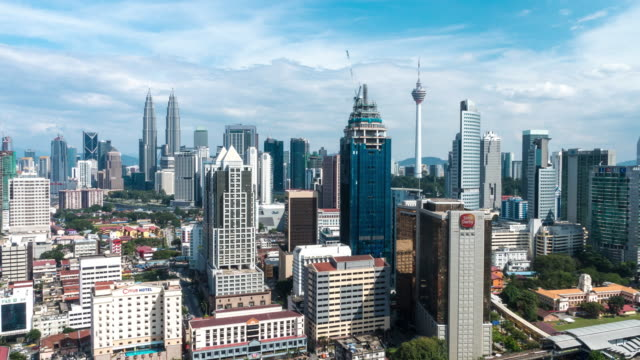 afternoon time lapse at kuala lumpur city. camera pan left to right - menara kuala lumpur tower stock videos & royalty-free footage