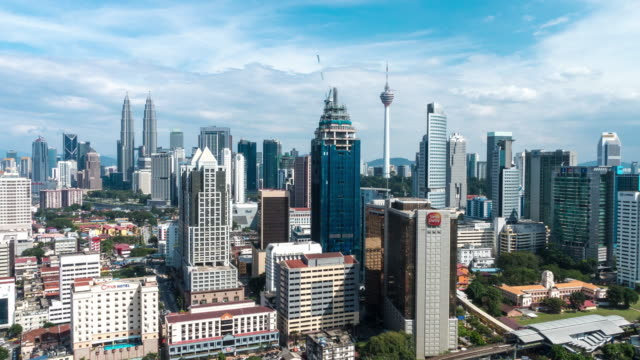 afternoon time lapse at kuala lumpur city. camera zoom out. - menara kuala lumpur tower stock videos & royalty-free footage