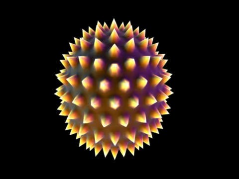 against a black background, a round shape dominates the screen. yellow and pink in colour, it is covered in nodules and resembles an abstract sea-urchin. it spins, slow at first, then at speed. - sea urchin stock videos and b-roll footage