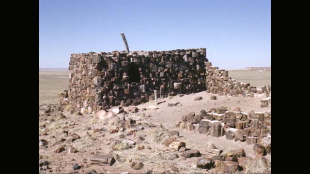 vídeos de stock, filmes e b-roll de ws pov agate house in petrified forest national park / arizona, united states - arcaico