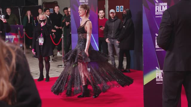 """agathe rousselle twirls on the red carpet for """"titane"""" uk premiere during the 65th bfi london film festival at the royal festival hall on october 7,... - premiere stock videos & royalty-free footage"""
