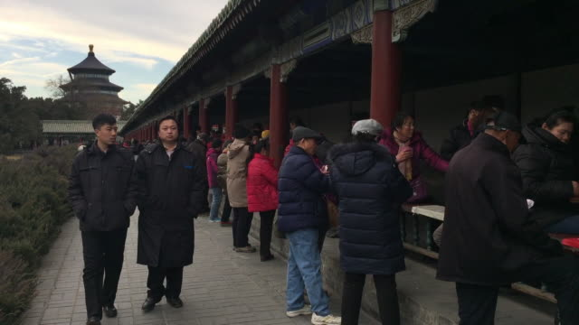 aged people play cards together at famous temple of heaven on feb 20 2017 in beijing china aging of chinese population is a major challenge to china... - population explosion stock videos and b-roll footage