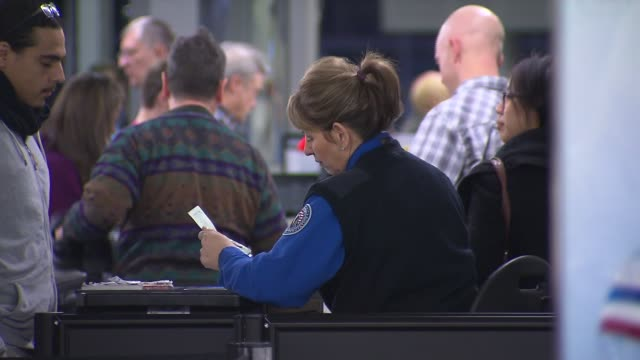 agent looking at passports at chicago o'hare airport on december 13, 2013 in chicago, illinois - 税関点の映像素材/bロール