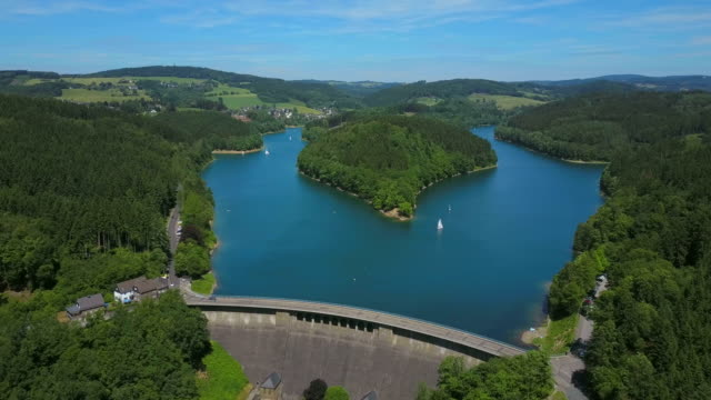 agger valley dam and reservoir, bergneustadt, bergisches land, north rhine-westphalia, germany - reservoir stock videos and b-roll footage