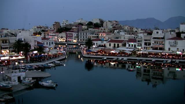 Agios Nikolaos Harbor, Crete, Greece at Dusk