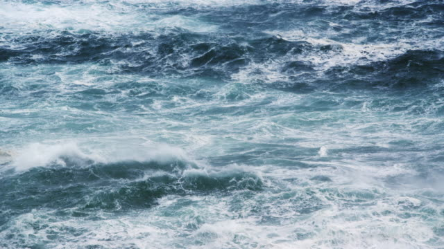 MS SLO MO agitated ocean texture during storm / Lewis Island, Scotland, United Kingdom
