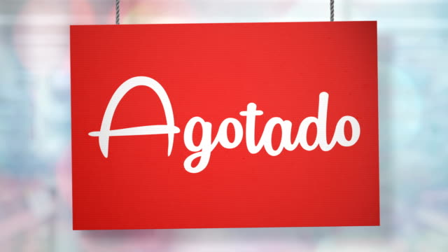 agotado sign hanging from ropes. luma matte included so you can put your own background. - corda video stock e b–roll