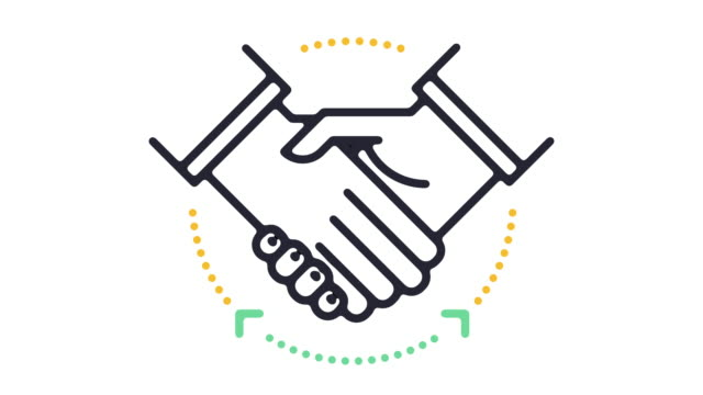 agreement line icon animation - partnership stock videos & royalty-free footage