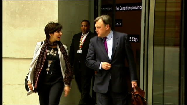 agreement reached on ministry of defence spending reductions; new broadcasting house: ext shadow chancellor ed balls mp from building ed balls mp... - no doubt stock-videos und b-roll-filmmaterial
