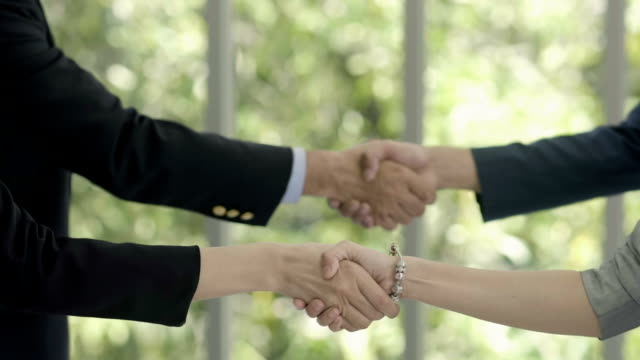 Agreement : Two partners, shake hands.