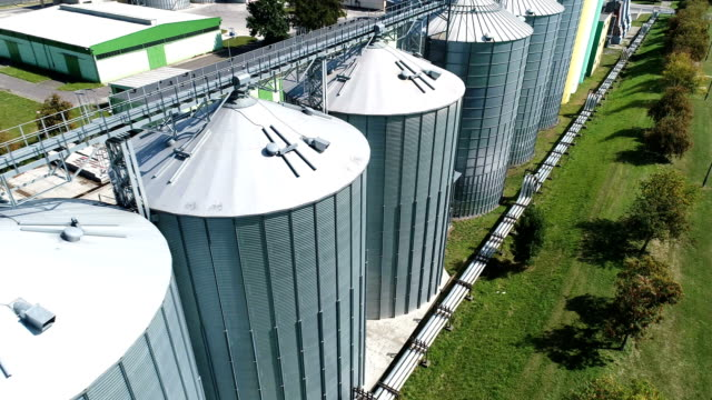 agricultural silo. aerial view - agricultural machinery stock videos & royalty-free footage