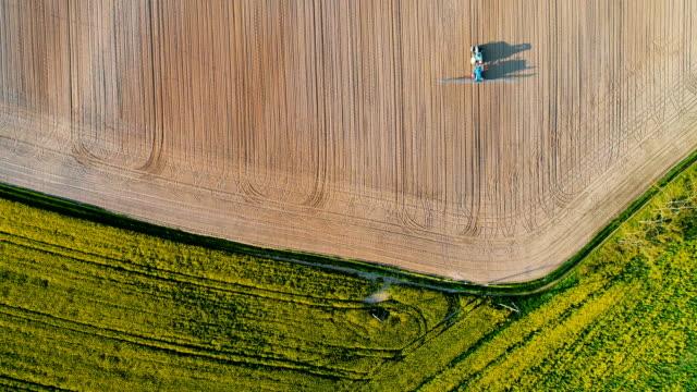 Jordbrukstraktor besprutning fältet med bekämpningsmedel.