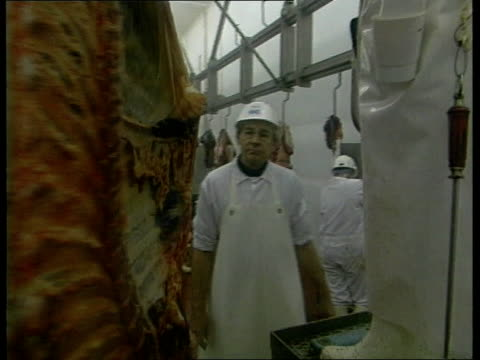 stockvideo's en b-roll-footage met tighter controls on beef imports; health / agriculture: bse: tighter controls on beef imports; r26039601 int inspectors watching work in abbatoir - itv weekend evening news