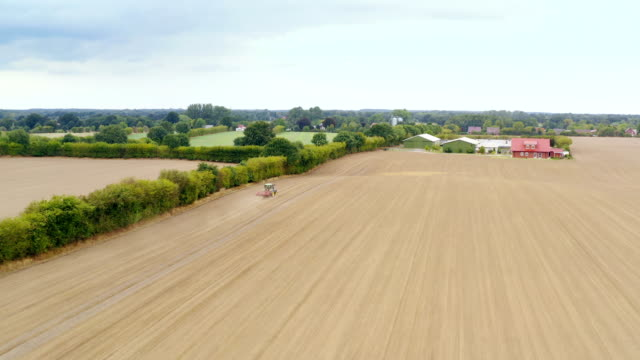 agriculture field aerial view - agricultural equipment stock videos & royalty-free footage