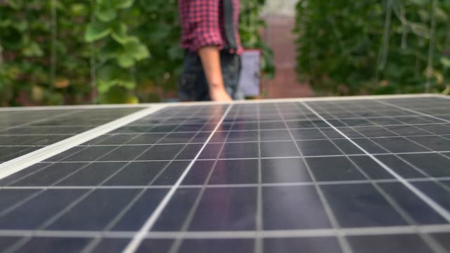 agriculture woman walking in the farm with of solar cells on the foreground. - installing stock videos & royalty-free footage