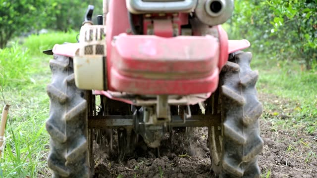 agriculturist controlling two wheel tractor plowing on soil field in plantation - tractor stock videos & royalty-free footage
