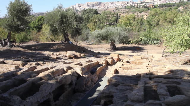 agrigento, byzantine arcosolium burial chambers, and the remains of the early christian necropolis - byzantine stock videos & royalty-free footage