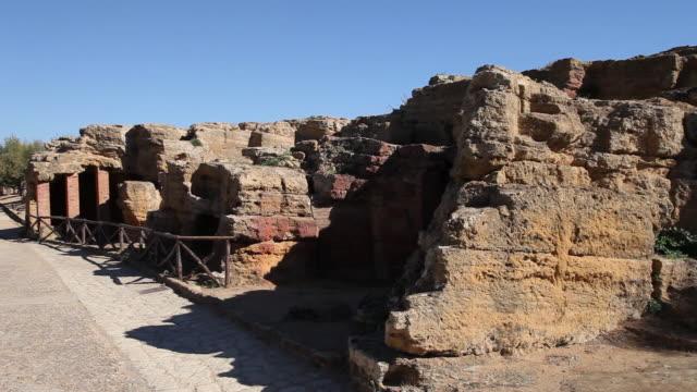 agrigento, byzantine arcosolium burial chambers - byzantine stock videos & royalty-free footage