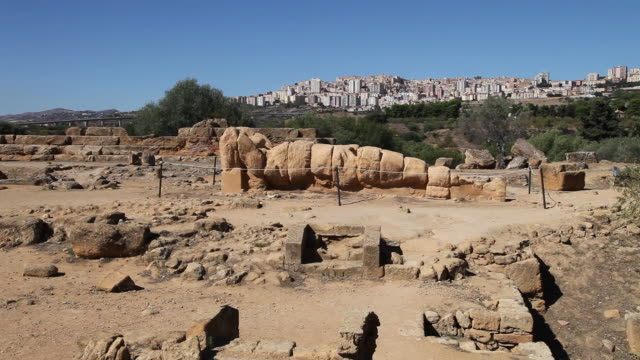 agrigento, one of the colosal telamones that adorned the temple of olympian zeus - zeus stock videos and b-roll footage
