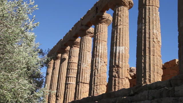 agrigento, temple doric of juno lacinia, peripteral hexastyle temple, built in the half of the fifth century b.c. - circa 5th century stock videos & royalty-free footage