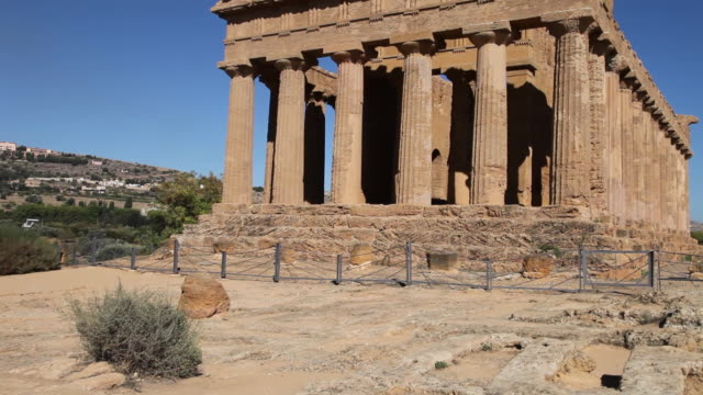 agrigento, temple of concord, a splendid example of doric architecture, 4th century b.c. - archaeology stock videos & royalty-free footage
