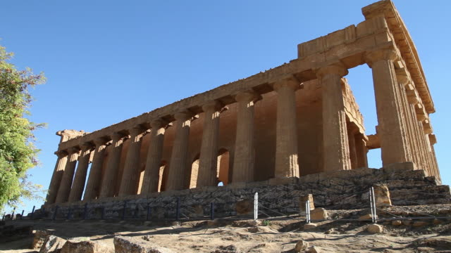 agrigento, temple of concord, a splendid example of doric architecture, 4th century b.c. - doric stock videos & royalty-free footage