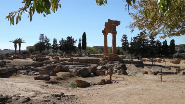 Agrigento, view of the temple of Castor and Pollux, in the center of sanctuary dedicated to the Cathonic Divinities