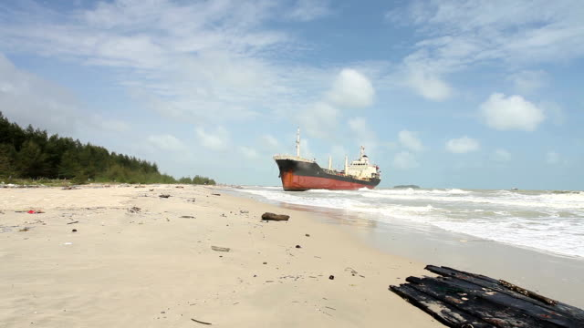 aground ship on beach - stranded stock videos and b-roll footage