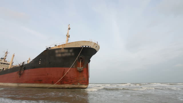 Aground ship on beach