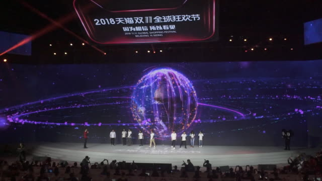 ahead and during alibaba group ltd's annual november 11 singles' day online shopping event in shanghai china on saturday november 10 2018 - non western script stock videos & royalty-free footage