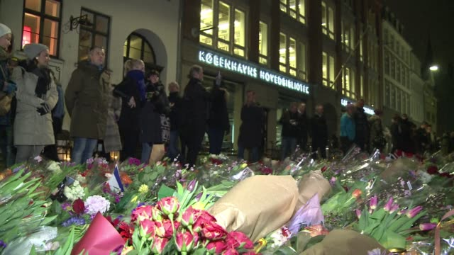 ahead of the funeral of jewish shooting victim dan uzan flower and tributes are accumulating in front of the copenhagen synagogue that was the scene... - oresund region stock videos & royalty-free footage