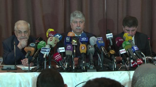 ahmad majdalani head of the palestine liberation organisation delegation who arrived tuesday from ramallah spoke to reporters in damascus at the end... - palestine liberation organisation stock videos & royalty-free footage