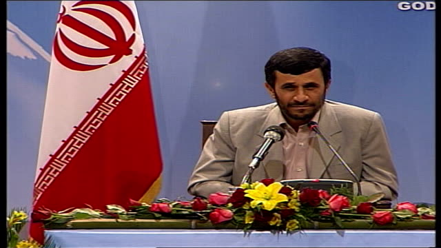 ahmadinejad announces release of the fifteen british captured sailors ahmadinejad press conference sot talks of no deal being made/ british... - press release stock videos and b-roll footage