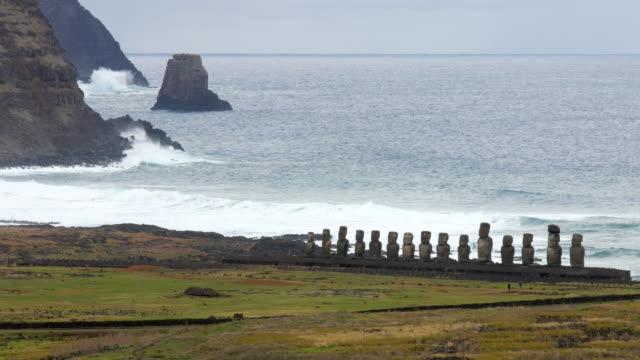 Ahu Tongariki with 15 moais near the shore