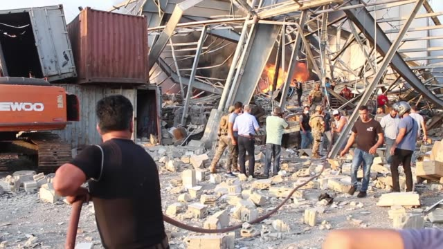 aid team at the port after the explosion on august 4, 2020 in beirut, lebanon. according to the lebanese red cross, at the moment over 100 people... - port said stock videos & royalty-free footage